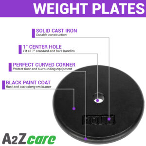 a2zcare cast iron weight plates set of weight plate 10lbs 15lbs 20lbs 25lbs standard weight plate olympic grip plate