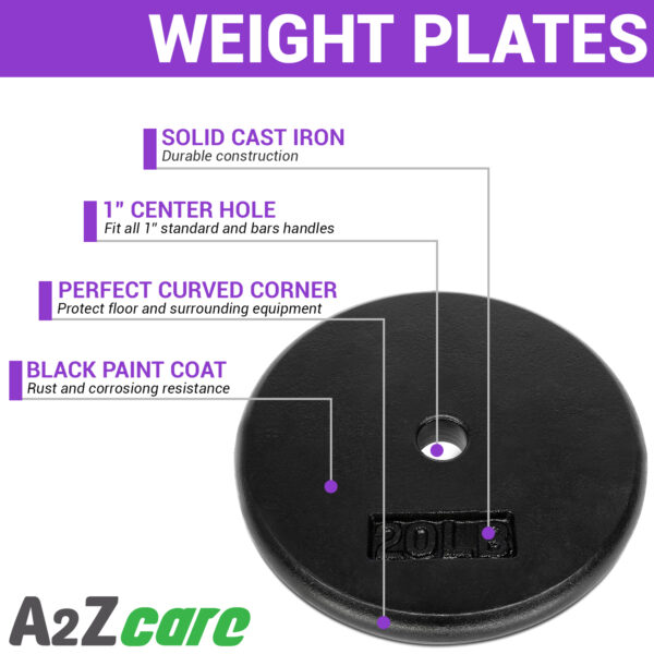 A2ZCARE Standard 1-inch Cast Iron Weight Plates 10 15 20 25 lbs (Single)  sc 1 st  A2ZCare & A2ZCARE Weight Plates 10 15 20 25 lbs - Standard 1-inch Weight Plates