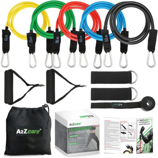 9fae20f535f6 A2ZCARE Resistance Bands Set – Include 5 Stackable Exercise Bands, Premium  Door Anchor, Legs Ankle Strap, Exercise Foam Handle | Carry Bag & ...